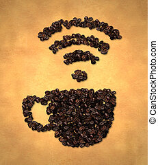 Cup Wireless Icon Coffee Bean on Old Paper