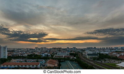 Time lapse of Sunrise in Singapore - Time lapse zooming out...