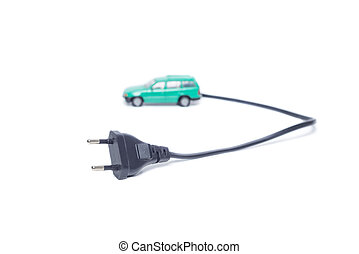 Electric Vehicle Plug - Electric car with plug to recharge...