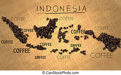 Indonesia map Coffee Bean producer on Old Paper