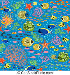 Underwater Fishes Seamless Pattern - Vector Seanless Pattern...