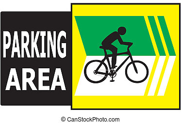 Parking Area Bicycle Sign Label - Vector of turn right sign...