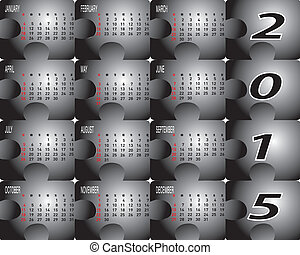 Two Tone Jigsaw Calendar Year 2015 - Vector of Jigsaw...