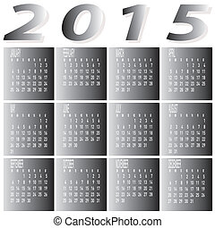 Monthly Year 2015 Two Tone Calendar - The vector of Monthly...