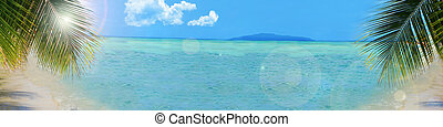tropicais, praia, fundo, bandeira