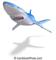 blue shark 3D render with clipping path and shadow over...