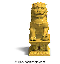golden chinese foo dog - chines fu dog in gold. 3D Render...
