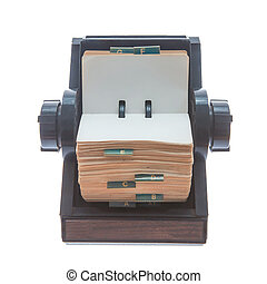 Rolodex - Old original rotary rolodex isolated on white