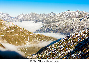view from Furkapass, canton Graubunden, Switzerland