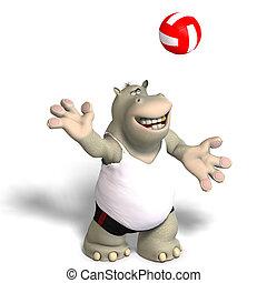 zabawny, Hipopotam, gry, siatkówka