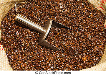 Sack of coffee beans with Silver sp