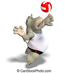 funny hippo plays volleyball - rendering of a hippo who...
