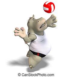 zabawny, gry, siatkówka, Hipopotam