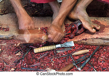 Handcraft woodwork in the countryside of Madagascar