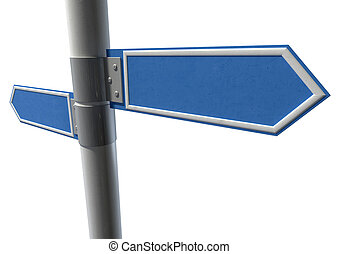 Blank Pair Pointing Signs - Two generic blank directional...