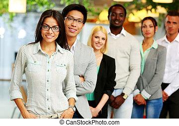 sonriente, grupo, empresa / negocio, gente, oficina, rayado,...