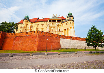 Walls of Wawel Royal Castle in Krakow, Poland - Walls of...
