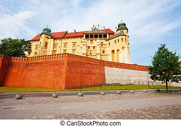 Walls of Wawel Royal Castle in Krakow, Poland - Walls of...