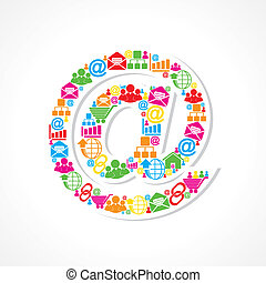 Social media icons make email sign stock vector