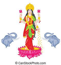 Goddess Lakshmi - easy to edit vector illustration of...