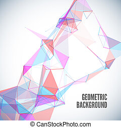 Abstract geometric background with circles, lines, triangles...