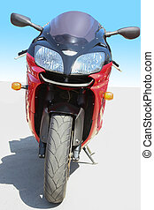 red motorcycle on road - big beautiful powerful red...