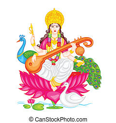 Goddess Saraswati - easy to edit vector illustration of...