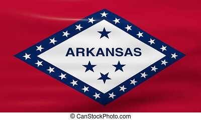 Waving Arkansas State Flag, ready for seamless loop