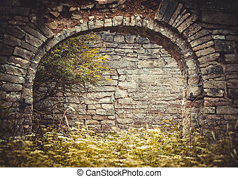 Old brick archway in the abandoned homestead