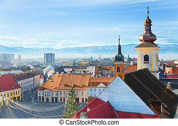 Roman Catholic Church and Large square in Sibiu, Romania...