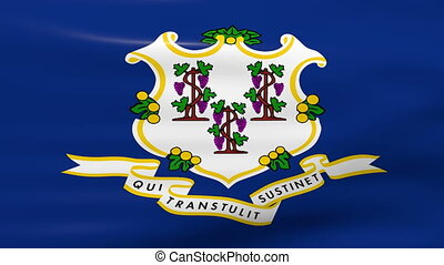 Waving Connecticut State Flag, ready for seamless loop.