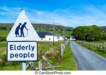 traffic sign for paying attention for elderly people at the...