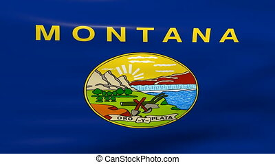 Waving Montana State Flag, ready for seamless loop