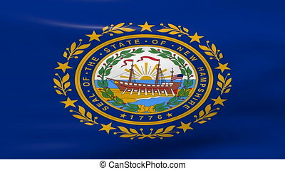 Waving New Hampshire State Flag, ready for seamless loop.
