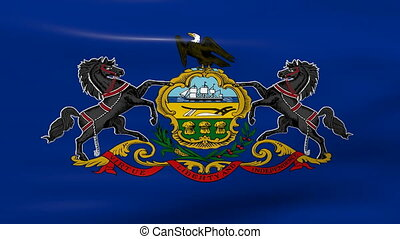 Waving Pennsylvania State Flag, ready for seamless loop