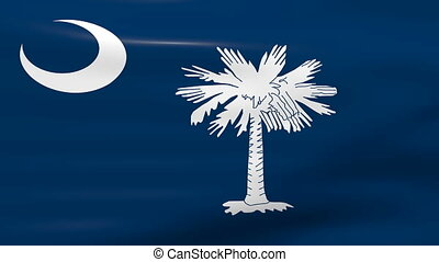 Waving South Carolina State Flag, ready for seamless loop.