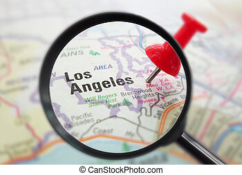 LA California closeup - Closeup of a map of Los Angeles,...
