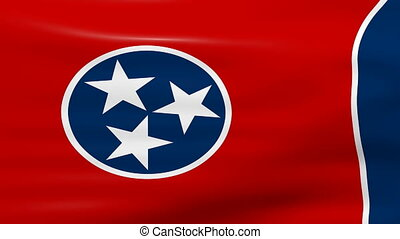 Waving Tennessee State Flag, ready for seamless loop