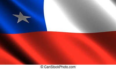 Chile flag waving in the wind. Looping animation