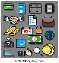 Digital Pixel Financial Icons Set