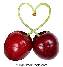 Cherries forming a heart love topic - Two cherries forming a...