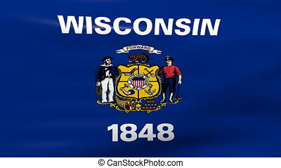 Waving Wisconsin State Flag, ready for seamless loop