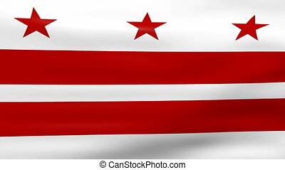 Waving Washington DC Flag, ready for seamless loop.