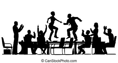 Meeting celebration - Editable vector silhouettes of...