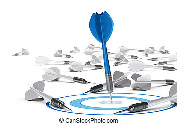 Objective Attainment Concept - One dart hitting the center...