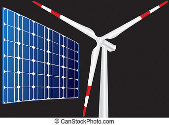 wind turbine and solar panel