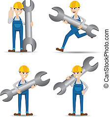 cartoon set of technician with wrench
