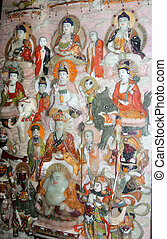 Painting with Buddhas-- Buddhist temple on the territory...