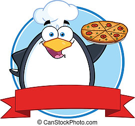Chef Penguin Holding A Pizza Pie Circle Banner