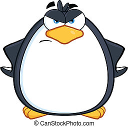 Angry Penguin Character - Angry Penguin Cartoon Mascot...